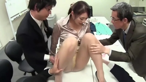 Large tits japanese slut sucking cock in office