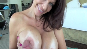Amazing & large boobs Charlee Chase receiving facial cum loads
