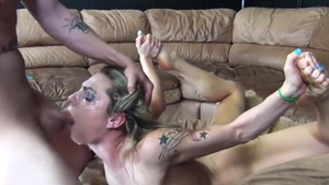 Shaved chick in glasses rough threesome