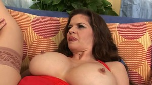 Plump June Summers & hairy June Summer rubbing on the couch