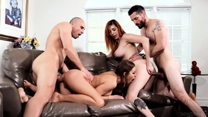 Group sex with very sexy redhead