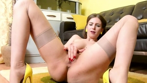 Stella Cox in her lingerie masturbating at the party