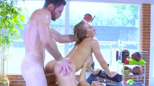Busty Nicole Aniston bends to get fucked at the gym