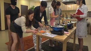 Large boobs asian cuddling cooking