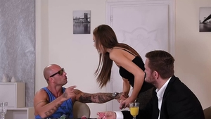 Tina Kay together with Mike Angelo groped