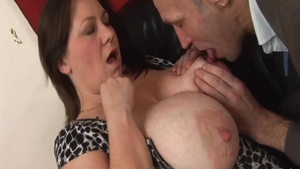 Real sex alongside big boobs british brunette