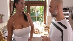 Busty buxom Chloe Amour hard dick sucking in the kitchen