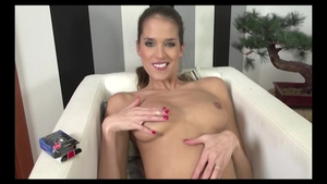 Brunette Silvie Deluxe in panties fucks with large vibrator