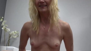 Small tits blonde babe raw sucking cock at the casting in HD