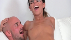 Gina Devine wearing glasses doggystyle