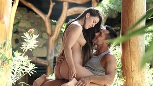 Horny & young Athina Love cumshot outdoors