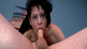 Tattooed brunette finds irresistible orgy