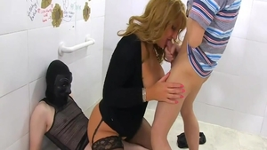 Gloryhole in public starring large boobs mature