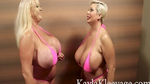 Kayla Kleevage together with Claudia Marie ass fucking