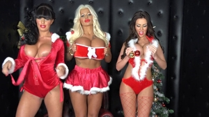 Blonde Ree Petra and wild Kerry Louise threesome on Xmas
