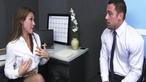 Busty & horny Callie Calypso cock sucking in office