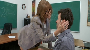 Pussy fuck in classroom alongside sexy blonde haired