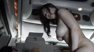 Busty & curvy Anri Okita blowjob on the backseat
