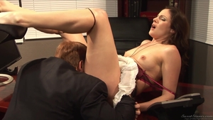 Very hawt stepmom goes wild on cock in office