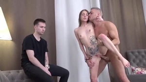 Inked amateur rough cheating cumshot in HD