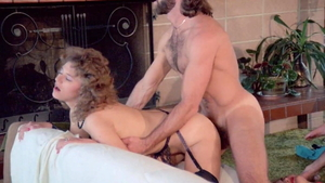 Classic hairy Laura Lazare in sexy stockings american blowjobs