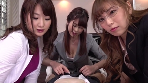 Japanese in stockings group sex in office