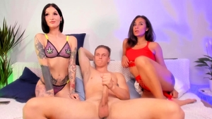Threesome live on webcam between amateur