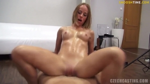 Horny huge tits buxom oil cowgirl sex at castings