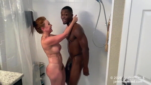 Rough nailing along with young companion Janet Mason in shower