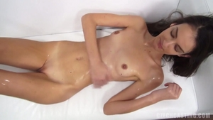Petite small boobs blonde hair oil at casting