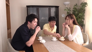 Threesome between very small tits hairy japanese amateur