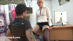 Strapon in office hottest french in stockings