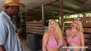 Karen Fisher escorted by Nina Kayy threesome in HD