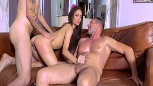Very hawt brunette craving rough threesome on sofa