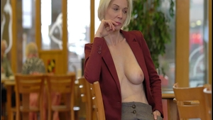 Very small tits exhibitionist raunchy stripteasing in public