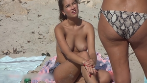 Outdoors next to huge tits hottest spanish brunette