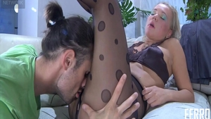 Sucking cock along with busty amateur wearing pantyhose