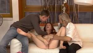 Blowjob accompanied by shaved czech mature