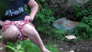 Desperate amateur pissing in the woods