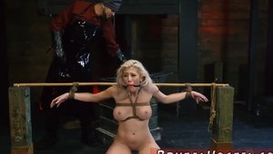 Huge boobs blonde babe bondage in HD