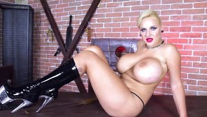 Big Tits - Shaved Dolly Fox posing on the table