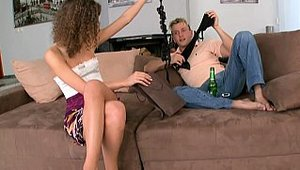 Bang!: Mature Juliette Shyn seduced on the couch