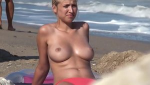 Hot blonde voyeur got her pussy pounded at the beach