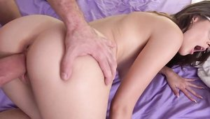 My Pervy Family: Big tits Michele James blowjob in the bed