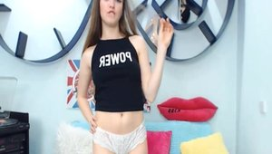 Natural brunette in panties playing with toys on web-cam solo