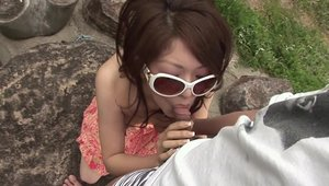 Asian babe digs facial in glasses