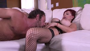 Redhead Sexy Vanessa rushes hard rough nailing on sofa in HD