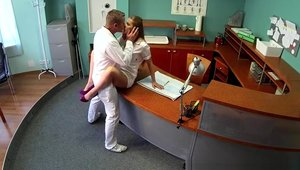 Voyeur hard pounding in the company of doctor