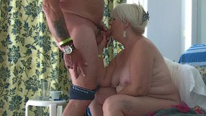 Aged granny sucking balls and cum in mouth