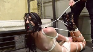 Bondage very small tits brunette wearing high heels